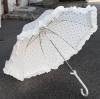 Schirm weiss mit lila Punkten